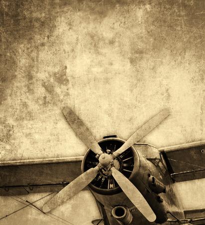 複葉機ビンテージ背景 写真素材