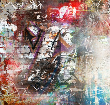 abstract painting: Graffiti wall background