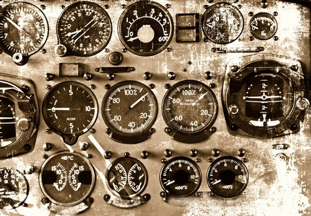 Cockpit detail in grunge style photo