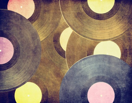 retro music: Vinyl records music background Stock Photo