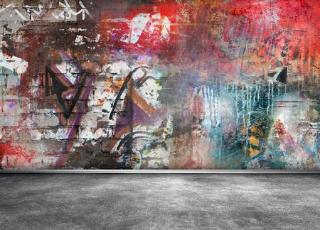 the red wall: Graffiti wall room interior Stock Photo