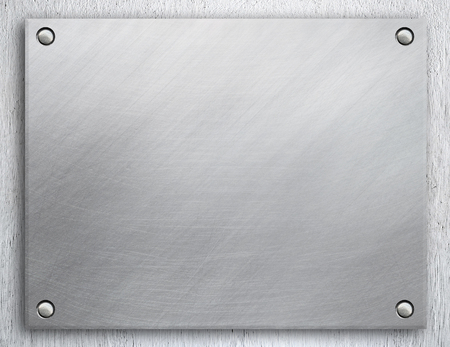 Metal plate with rivets Stock Photo