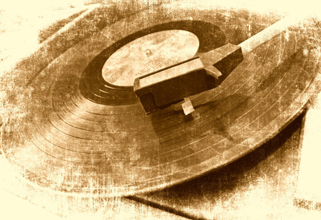 grunge music background: Vinyl player music background