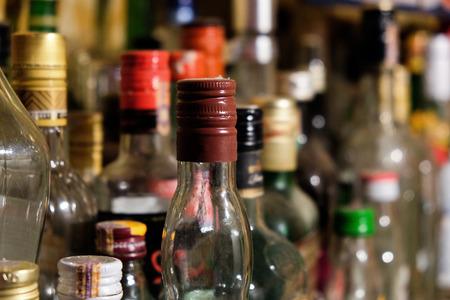 alcohol abuse: Many bottles Stock Photo