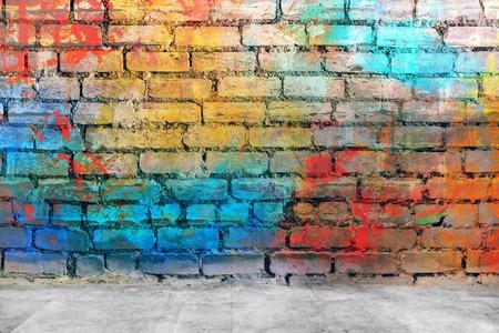 Graffiti bakstenen muur Stockfoto