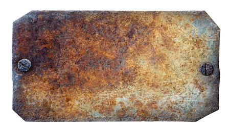 白い背景の上のさびた金属板
