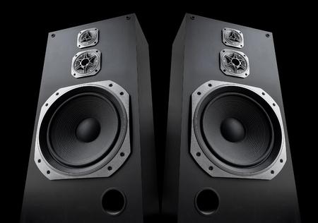 disco speaker: Audio speakers on black background
