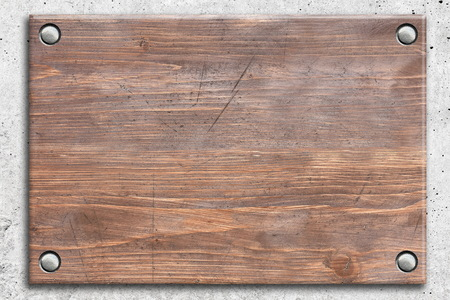 rivets: Wooden board with rivets Stock Photo