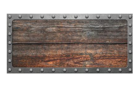 letreros: Señal de madera aislada en el fondo blanco