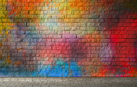 Colorful brick wall background Stock fotó