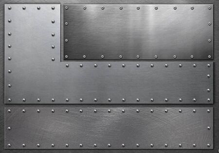 Metallrahmen auf Stahlhintergrund, Grunge-Hintergrund Standard-Bild