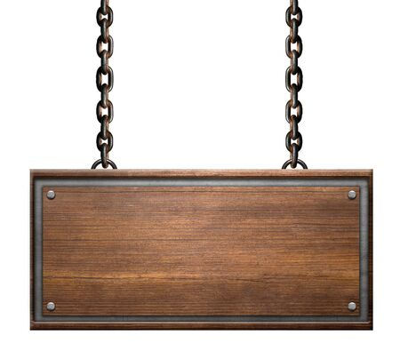 Vintage sign board with rusty chains link on white background Foto de archivo