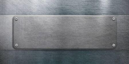 Metal plate on steel background