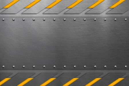 Metal frame with rivets on steel background