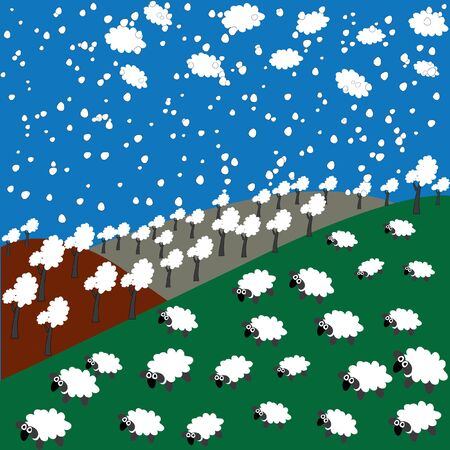 sheep, forest, clouds and snowflakes in the mountains Illustration