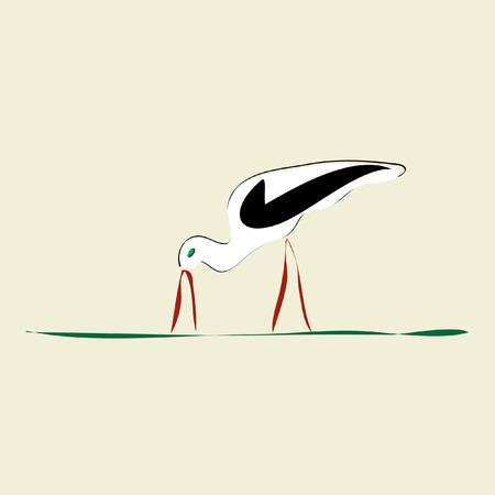 red beak: stork with red beak and feet on grass Illustration
