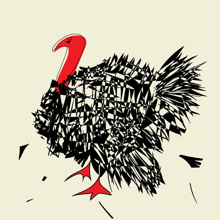 mating: angry turkey  with red neck on beige background