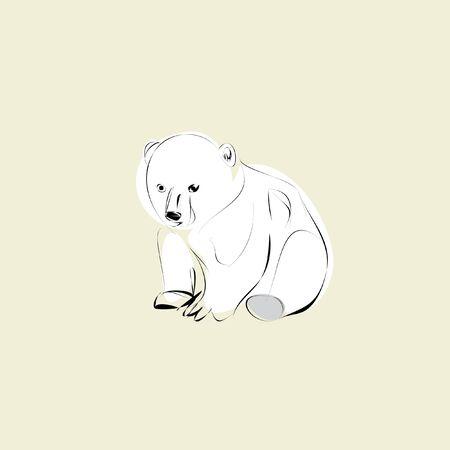 polar bear cub on a beige background Illustration