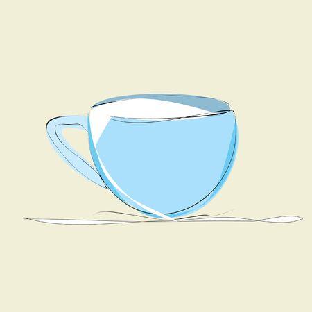 decaf: blue cup of milk on beige background Illustration
