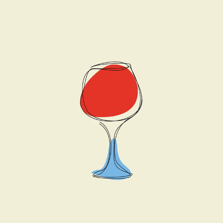 a glass of red wine on beige background Illustration
