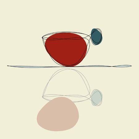 reflexion: la reflexión de la taza de café en la mesa de cristal Vectores
