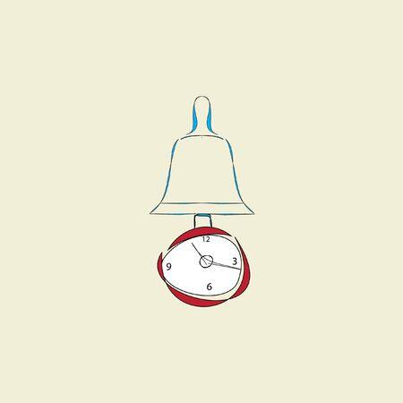 clock with pendulum and alarm on beige background