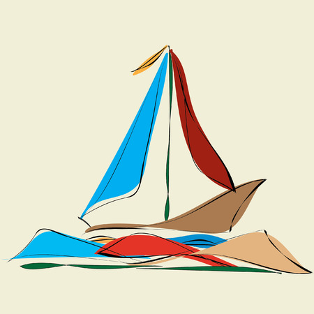 sailboat and reflexes in the sea waves