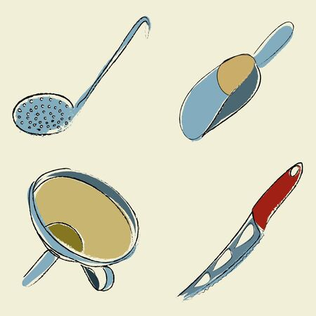 slotted: kitchen utensils (slotted spoon, scoop, funnel, cheese knife)