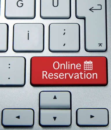 reservation: online reservation button on keyboard