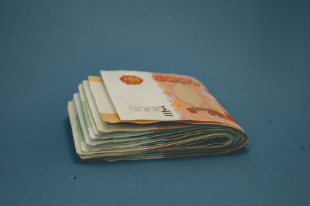 hick stack of cash money. The concept of rich, wealth, profits, business and finance. Five thousandth bills banknotes. A lots wads of money Stok Fotoğraf
