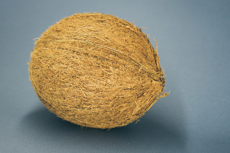 whole coconut lay on a dark blue background.
