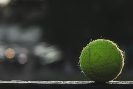 tennis ball lying on a metal stand. 스톡 콘텐츠 - 124516061