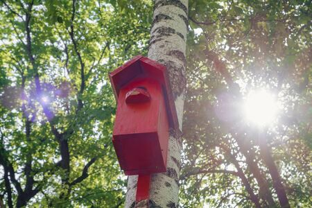 Red color painted birdhouse. Nesting box on tree. Stockfoto