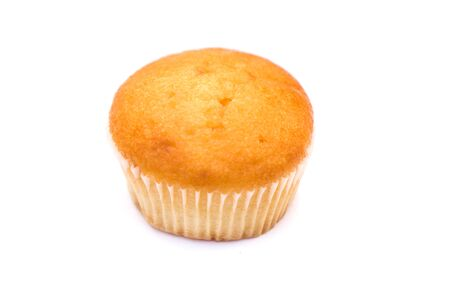 a plain cupcake or madeleine on a white background