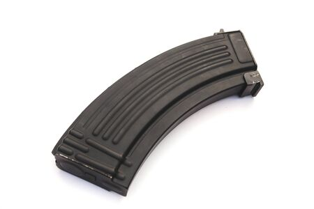 Magazine from assault rifle on white background