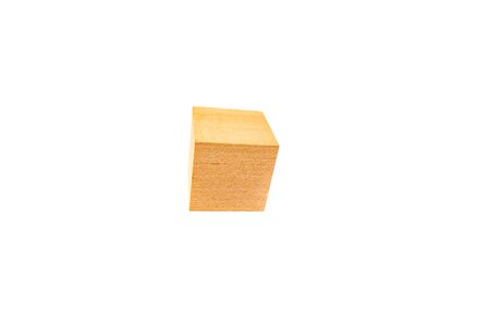 Blank wooden block isolated on white background.