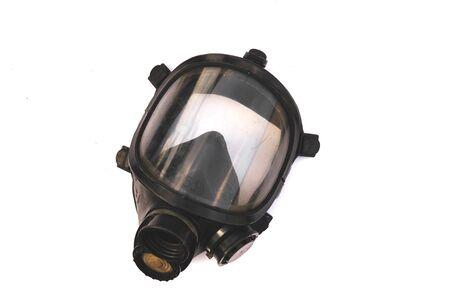 Maschera per ossigeno, maschera antigas, maschera per vigili del fuoco dei vigili del fuoco in Thailandia. Stato attraverso l'uso e molto vecchio isolato su sfondo bianco