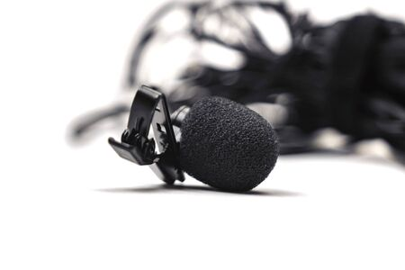 lapel microphone black isolated on white background