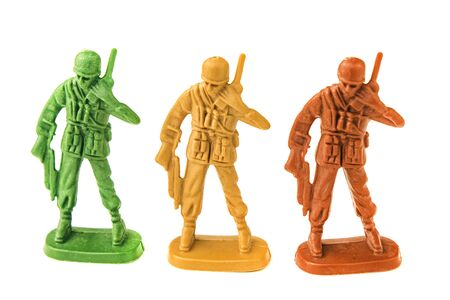 plastic toy army chief talking on white background Foto de archivo - 128971760