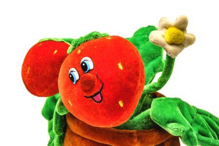 soft strawberry toy isolated on white background. Reklamní fotografie