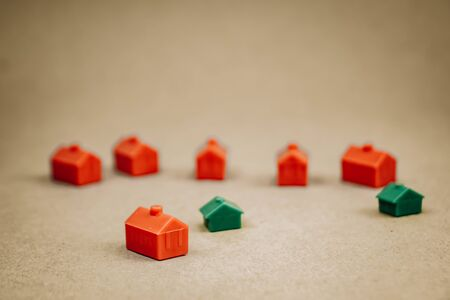 bunch of red little houses, construction concept 스톡 콘텐츠