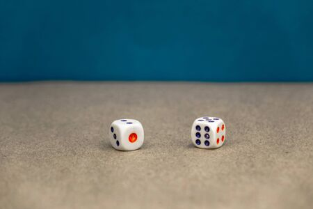 two white dice. casino and gambling concept. Stockfoto