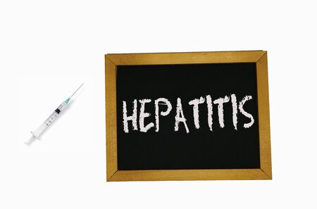 sign lying on a white background in the form of a template  pattern with the inscription hepatitis Banco de Imagens