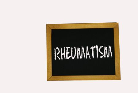 sign lying on a white background in the form of a template  pattern with the inscription rheumatism