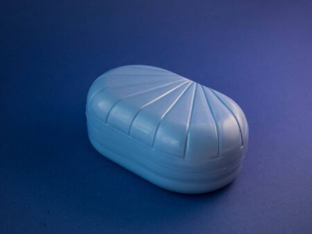 blue soap box on a blue background