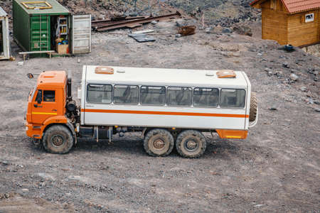 a car for transporting people stands in the mountains russia stary oskol 1 may 2020. 에디토리얼