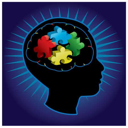 disorder: Negro silueta de ni�o perfiladas con piezas simb�licas rompecabezas del autismo