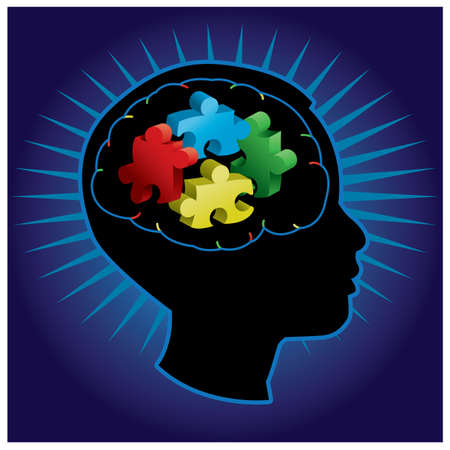 disordine: Nero silhouette di bambino profilata con simboliche autismo pezzi del puzzle