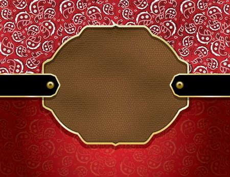 赤ペイズリー柄ハンカチ パターンと革バッジを含む背景