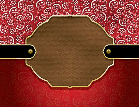 Background containing a red paisley handkerchief pattern and leather badge Stock Vector - 17871836